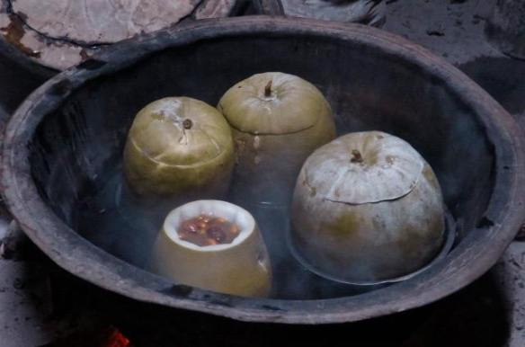 Winter melon soup (with red dates and white fungus)slow cooked over a wood fire.